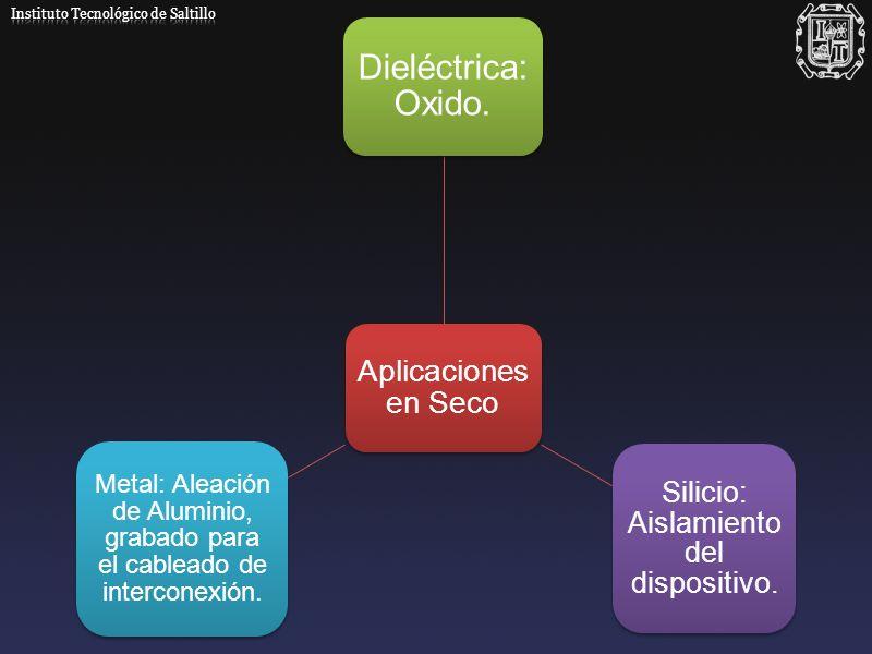 Aplicaciones en Seco Dieléctrica : Oxido. Silicio: Aislamiento del dispositivo. Metal: Aleación de Aluminio, grabado para el cableado de interconexión