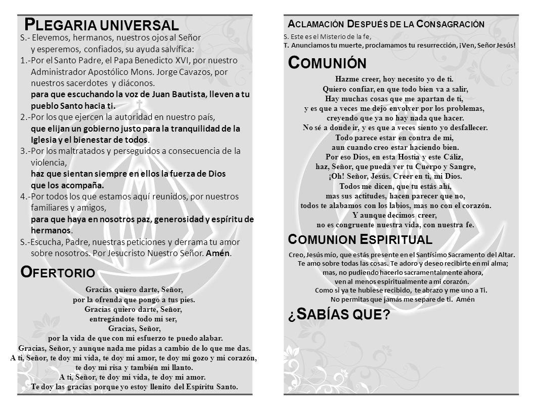 P LEGARIA UNIVERSAL O FERTORIO C OMUNIÓN ¿ S ABÍAS QUE.