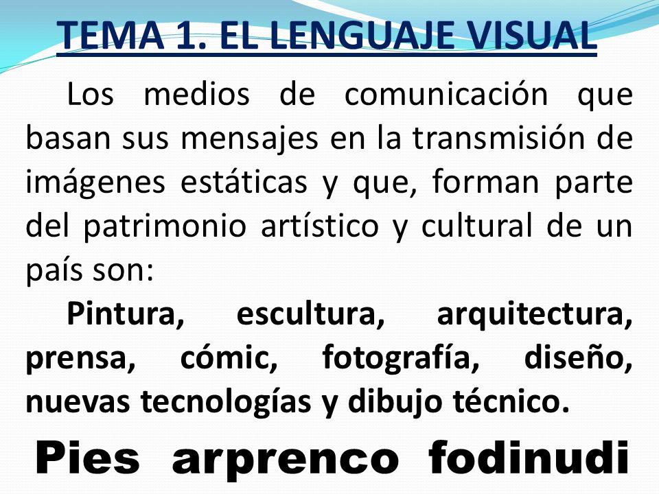TEMA 1. EL LENGUAJE VISUAL ¿De qué depende el modo de expresión de una imagen? Fundamentalmente de la cultura, de la época, del país y por supuesto, d