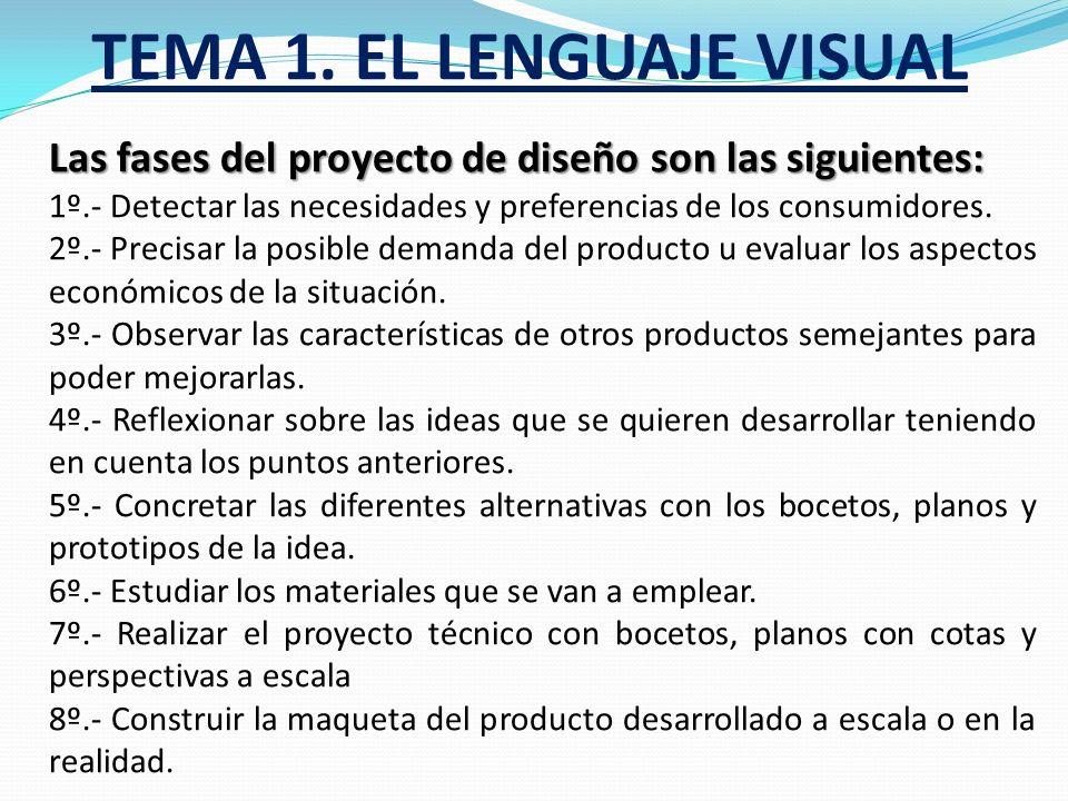 TEMA 1. EL LENGUAJE VISUAL Si hablamos del diseño, tenemos que decir que diseñar es una operación técnica creativa y estética que consiste en concebir