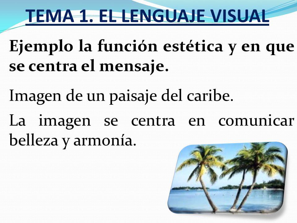 TEMA 1.EL LENGUAJE VISUAL Ejemplo la función estética y en que se centra el mensaje.