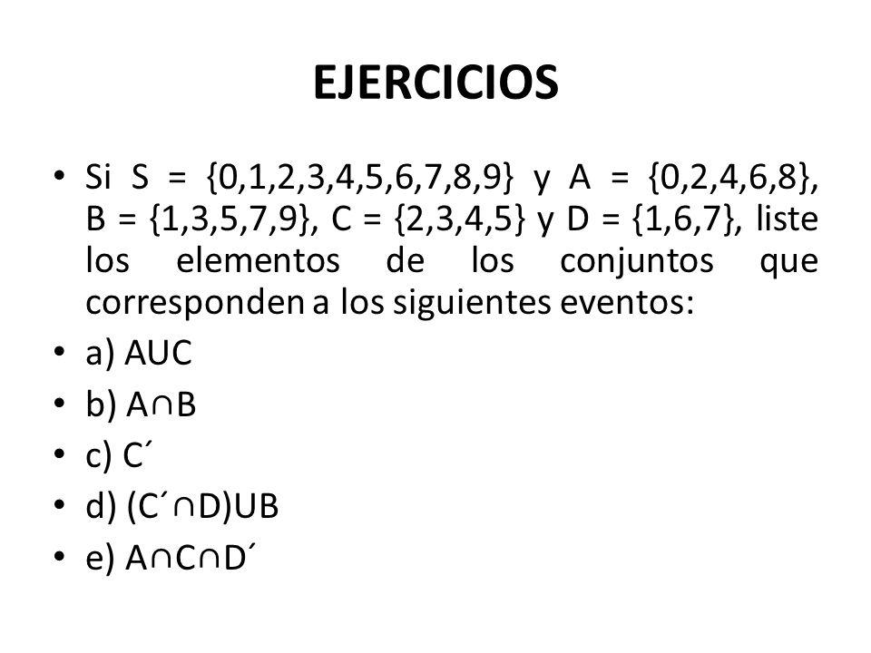 EJERCICIOS Si S = {0,1,2,3,4,5,6,7,8,9} y A = {0,2,4,6,8}, B = {1,3,5,7,9}, C = {2,3,4,5} y D = {1,6,7}, liste los elementos de los conjuntos que corr