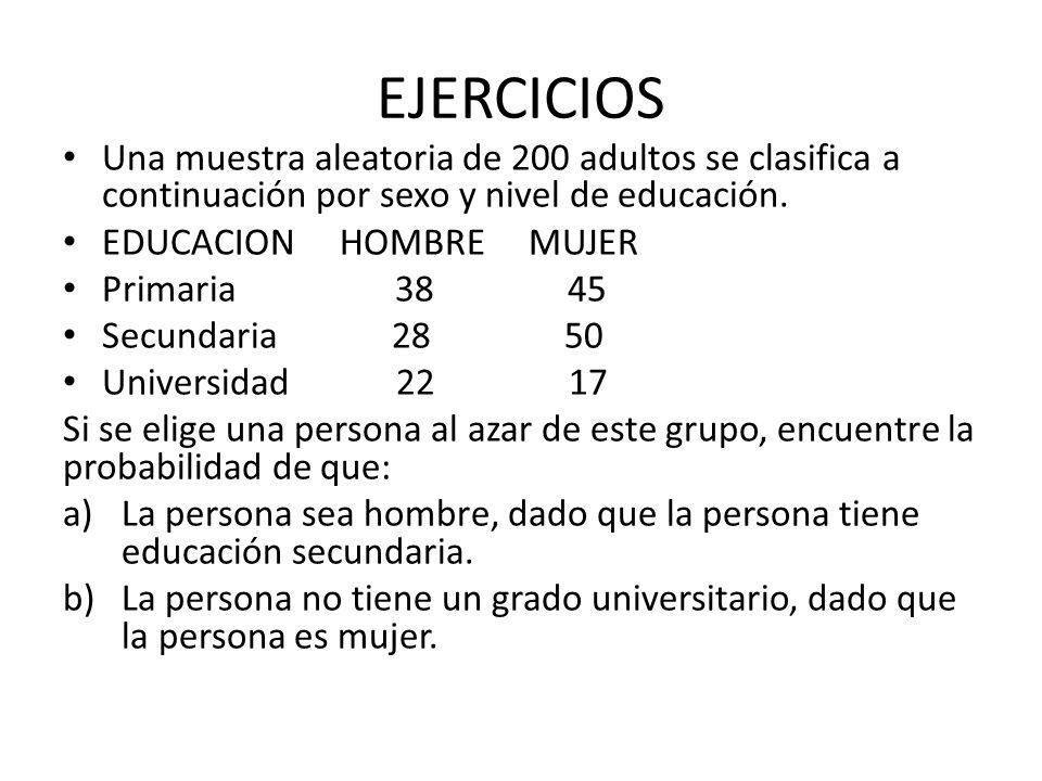 EJERCICIOS Una muestra aleatoria de 200 adultos se clasifica a continuación por sexo y nivel de educación. EDUCACION HOMBRE MUJER Primaria 38 45 Secun