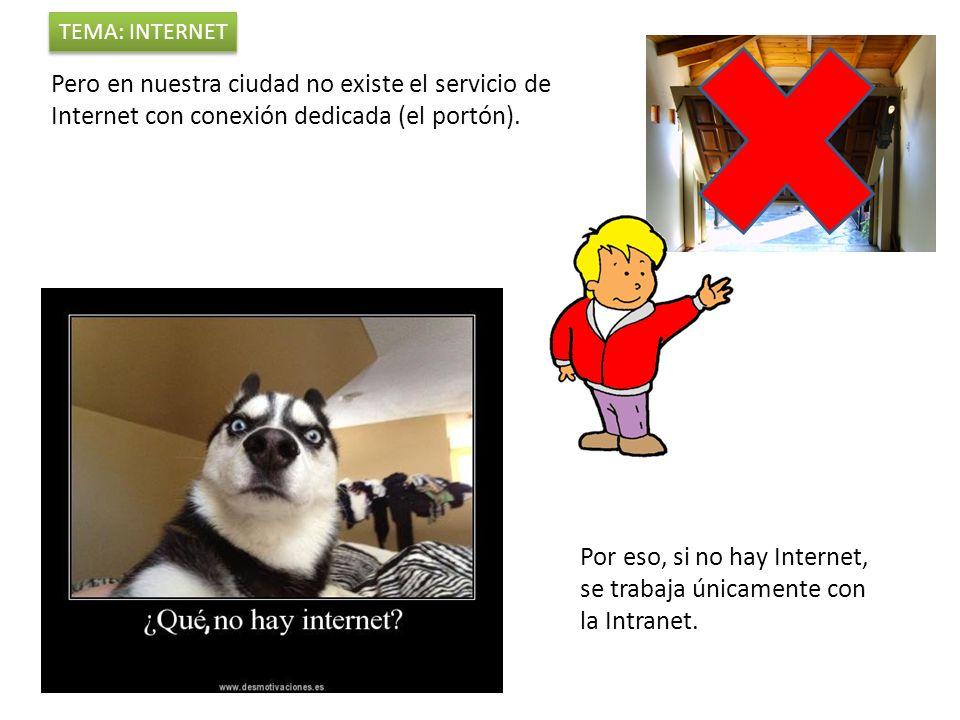 Pero en nuestra ciudad no existe el servicio de Internet con conexión dedicada (el portón).