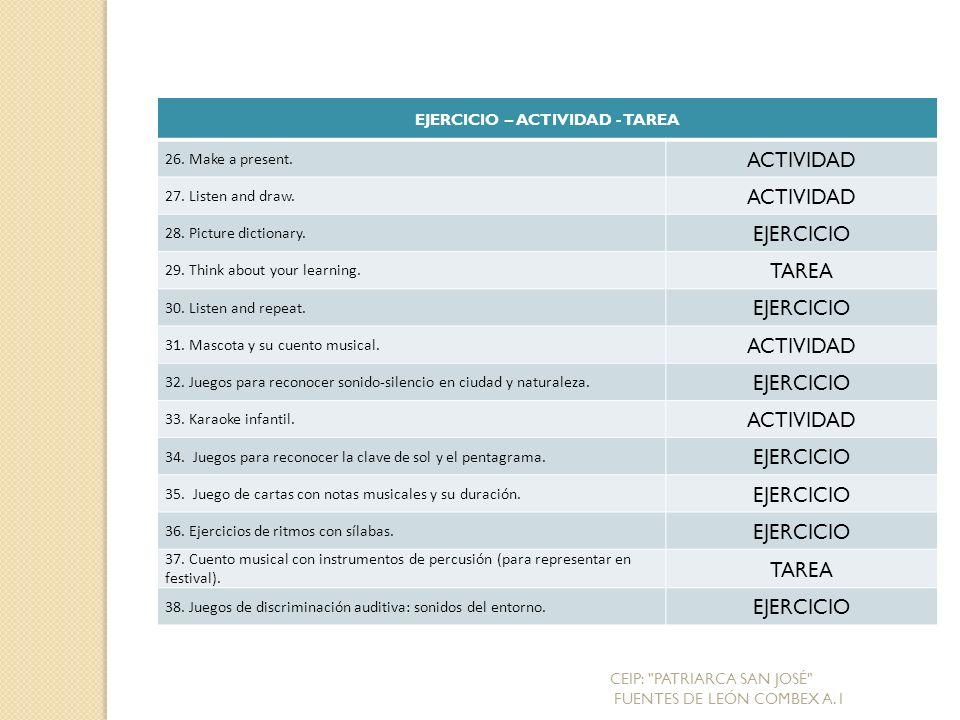EJERCICIO – ACTIVIDAD - TAREA 26.Make a present. ACTIVIDAD 27.