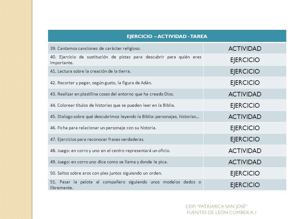 EJERCICIO – ACTIVIDAD - TAREA 39.Cantamos canciones de carácter religioso.