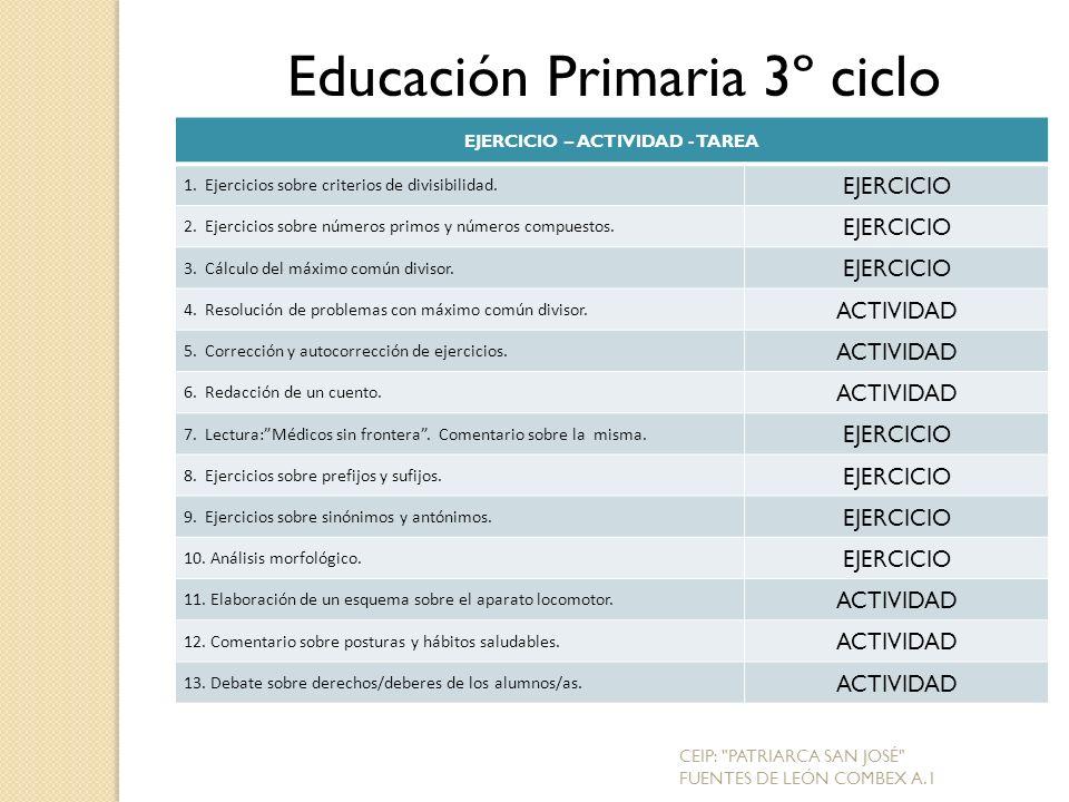 EJERCICIO – ACTIVIDAD - TAREA 1.Ejercicios sobre criterios de divisibilidad.
