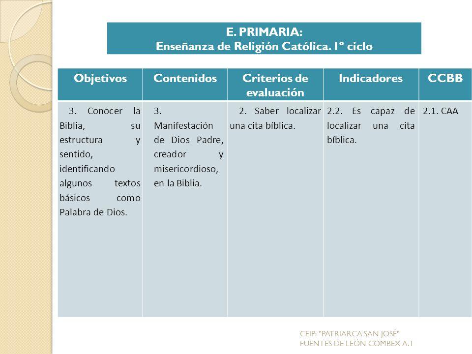 ObjetivosContenidosCriterios de evaluación IndicadoresCCBB 3.