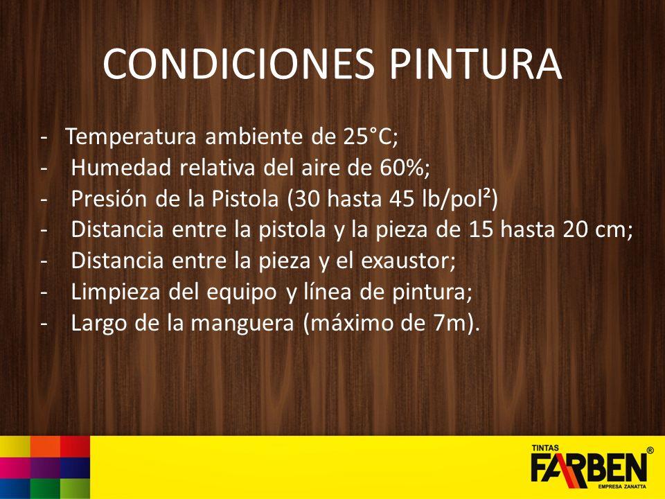 CONDICIONES PINTURA -Temperatura ambiente de 25°C; - Humedad relativa del aire de 60%; - Presión de la Pistola (30 hasta 45 lb/pol²) - Distancia entre
