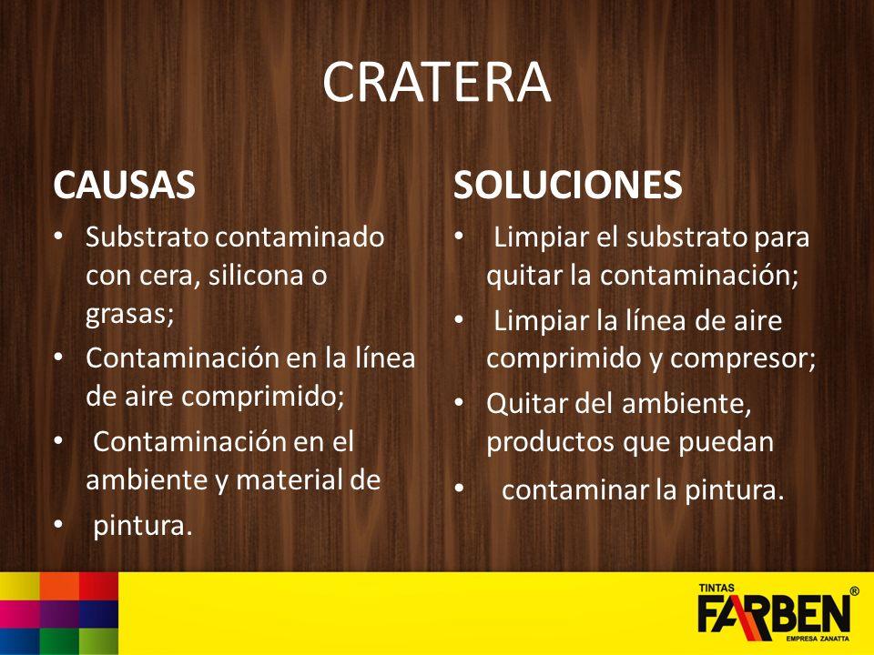 CRATERA CAUSAS Substrato contaminado con cera, silicona o grasas; Contaminación en la línea de aire comprimido; Contaminación en el ambiente y materia