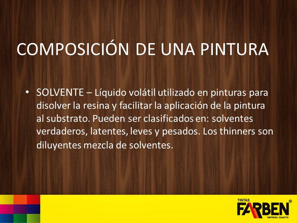COMPOSICIÓN DE UNA PINTURA ADITIVOS – Ingredientes que agregados a la pintura, en pequeñas cantidades, proporcionan características especiales o mejorías en su calidad.