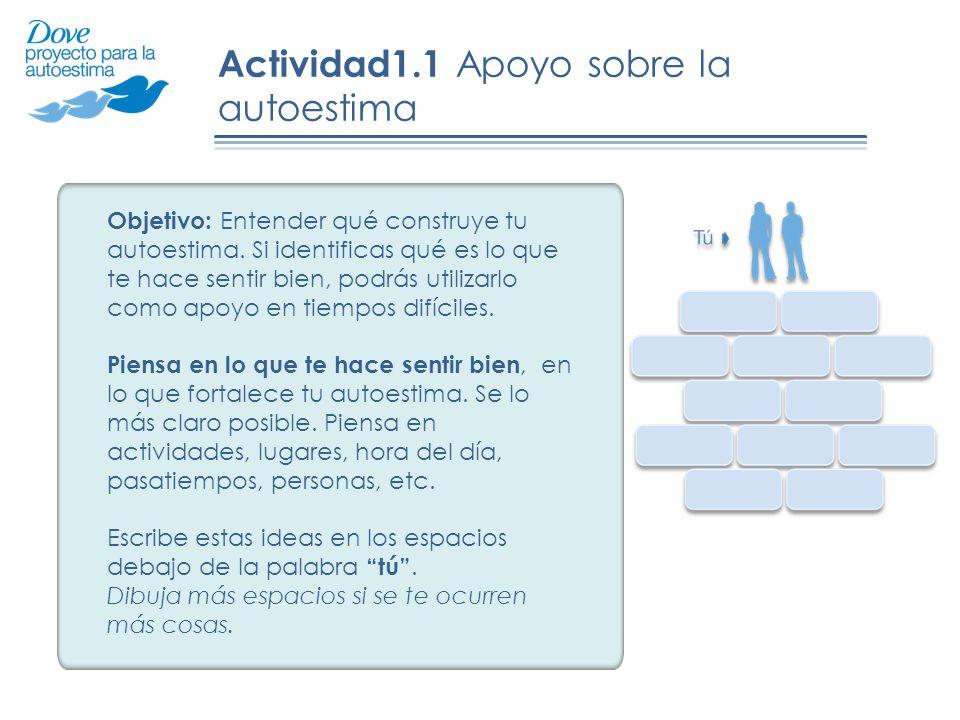 Actividad1.1 Apoyo sobre la autoestima Objetivo: Entender qué construye tu autoestima. Si identificas qué es lo que te hace sentir bien, podrás utiliz