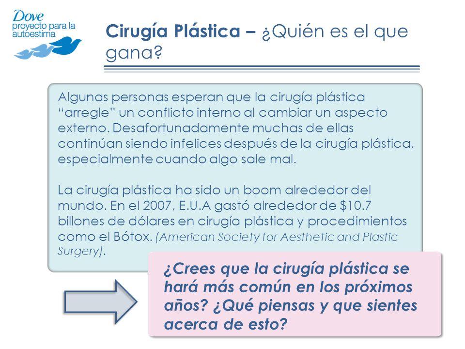 Cirugía Plástica – ¿Quién es el que gana? Algunas personas esperan que la cirugía plástica arregle un conflicto interno al cambiar un aspecto externo.