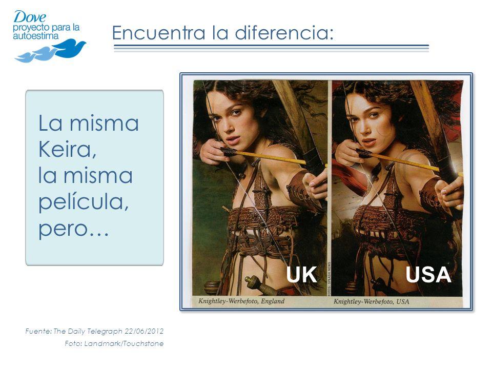 Encuentra la diferencia: La misma Keira, la misma película, pero… USAUK Fuente: The Daily Telegraph 22/06/2012 Foto: Landmark/Touchstone