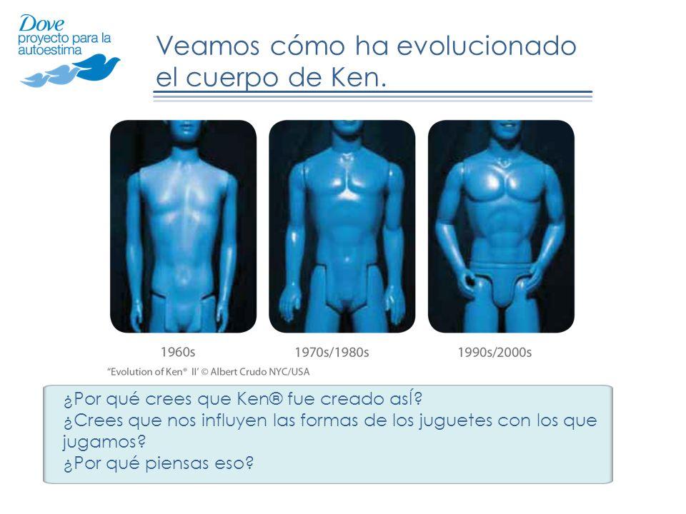 Veamos cómo ha evolucionado el cuerpo de Ken. ¿Por qué crees que Ken® fue creado asÍ? ¿Crees que nos influyen las formas de los juguetes con los que j