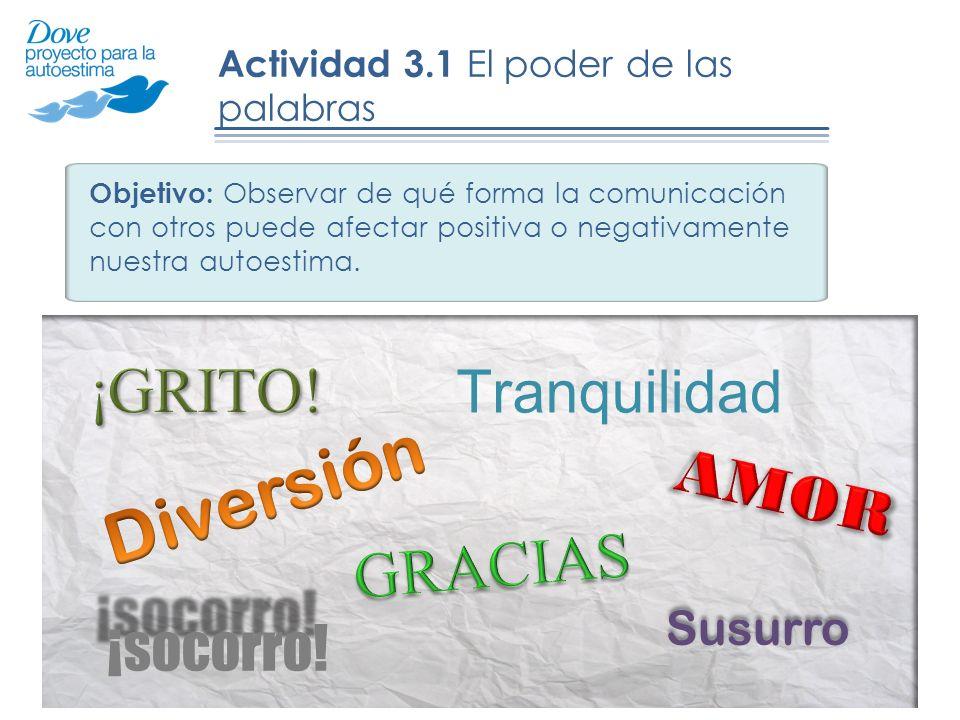 Actividad 3.1 El poder de las palabras Objetivo: Observar de qué forma la comunicación con otros puede afectar positiva o negativamente nuestra autoestima.