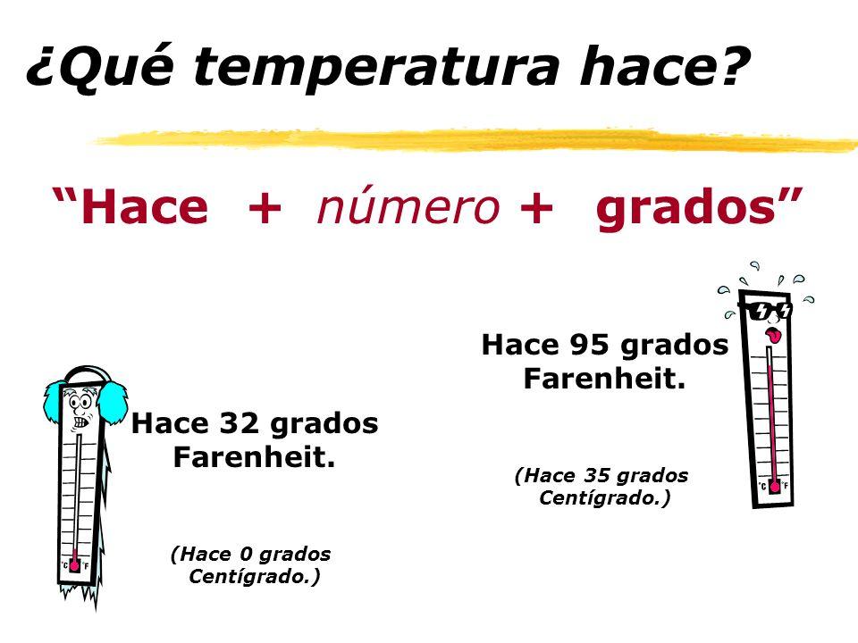 ¿Qué temperatura hace.Hace+númerogrados+ Hace 95 grados Farenheit.
