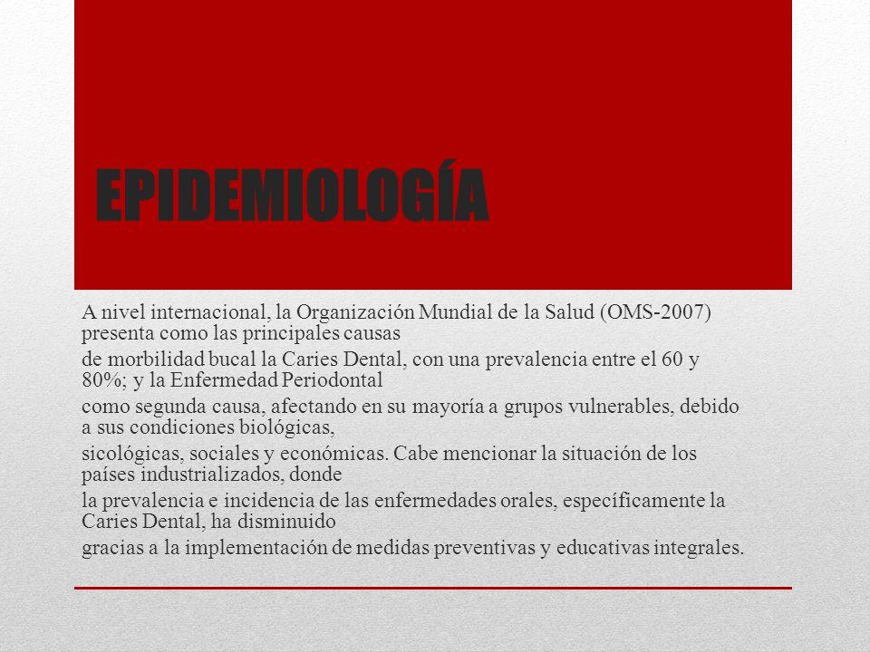 EPIDEMIOLOGÍA A nivel internacional, la Organización Mundial de la Salud (OMS-2007) presenta como las principales causas de morbilidad bucal la Caries