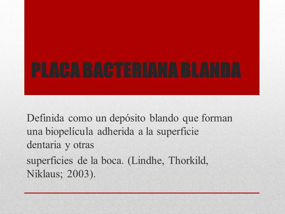 PLACA BACTERIANA BLANDA Definida como un depósito blando que forman una biopelícula adherida a la superficie dentaria y otras superficies de la boca.