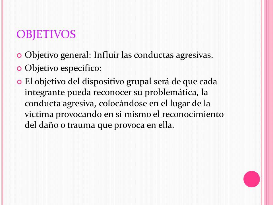 OBJETIVOS Objetivo general: Influir las conductas agresivas. Objetivo especifico: El objetivo del dispositivo grupal será de que cada integrante pueda