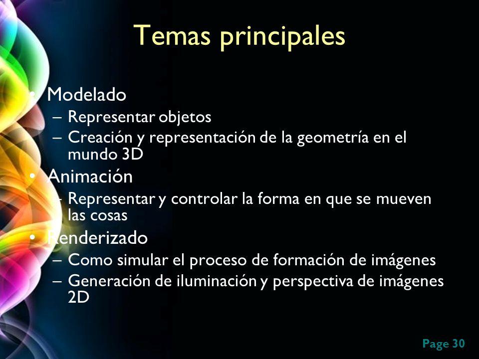 Page 30 Temas principales Modelado –Representar objetos –Creación y representación de la geometría en el mundo 3D Animación –Representar y controlar l