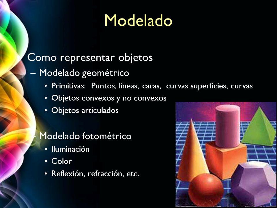 Page 32 Modelado Como representar objetos –Modelado geométrico Primitivas: Puntos, líneas, caras, curvas superficies, curvas Objetos convexos y no con