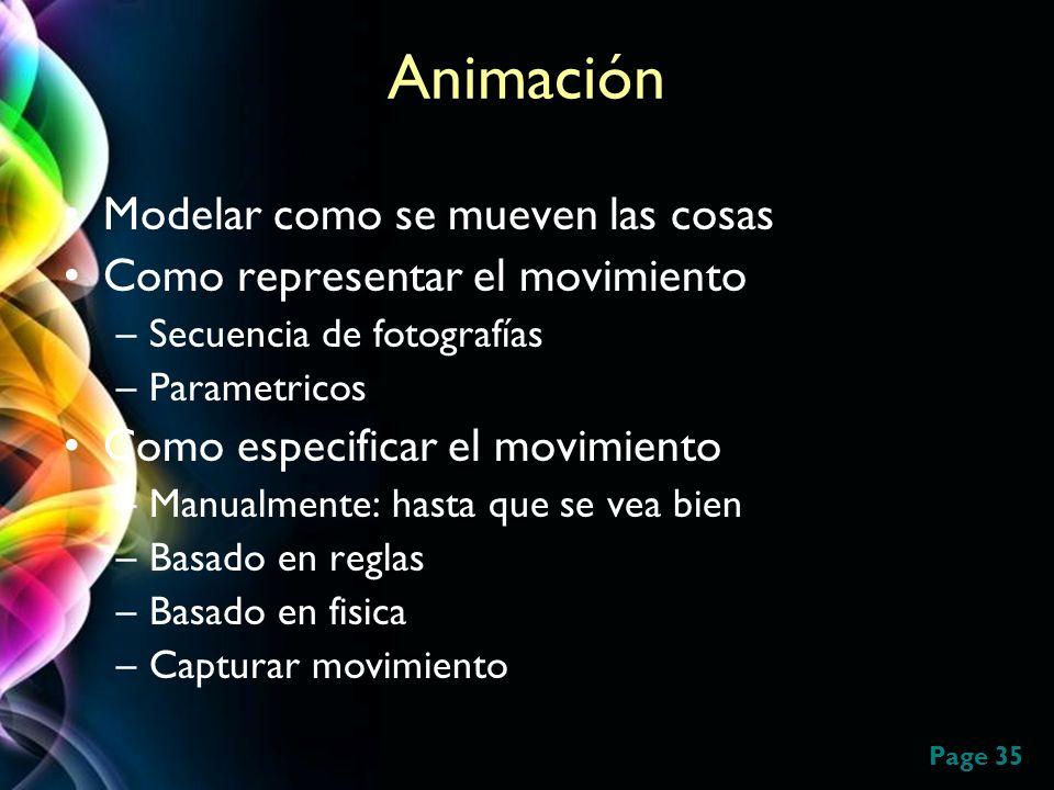 Page 35 Animación Modelar como se mueven las cosas Como representar el movimiento –Secuencia de fotografías –Parametricos Como especificar el movimien