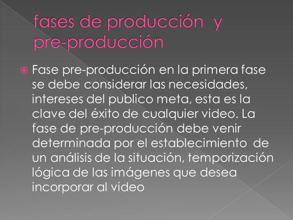 Fase pre-producción en la primera fase se debe considerar las necesidades, intereses del publico meta, esta es la clave del éxito de cualquier video.