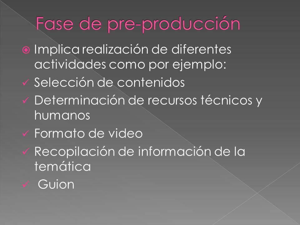 Implica realización de diferentes actividades como por ejemplo: Selección de contenidos Determinación de recursos técnicos y humanos Formato de video