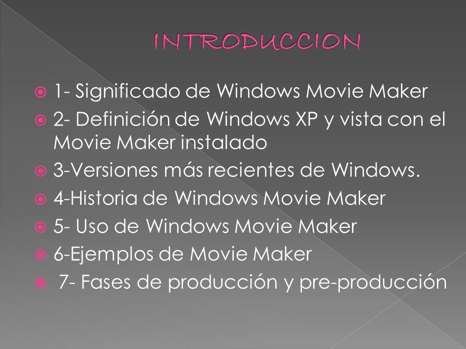 1- Significado de Windows Movie Maker 2- Definición de Windows XP y vista con el Movie Maker instalado 3-Versiones más recientes de Windows. 4-Histori