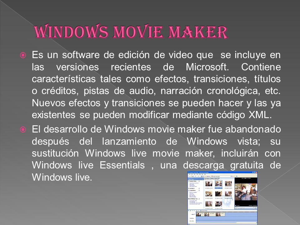 Es un software de edición de video que se incluye en las versiones recientes de Microsoft. Contiene características tales como efectos, transiciones,