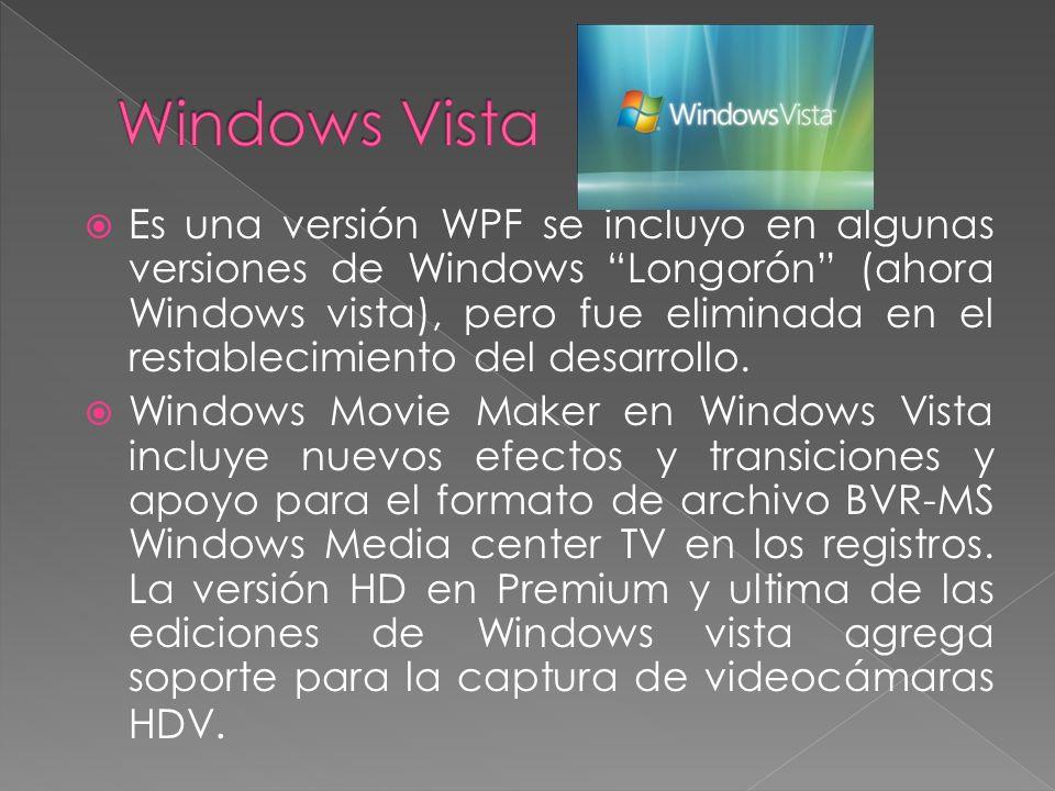 Es una versión WPF se incluyo en algunas versiones de Windows Longorón (ahora Windows vista), pero fue eliminada en el restablecimiento del desarrollo