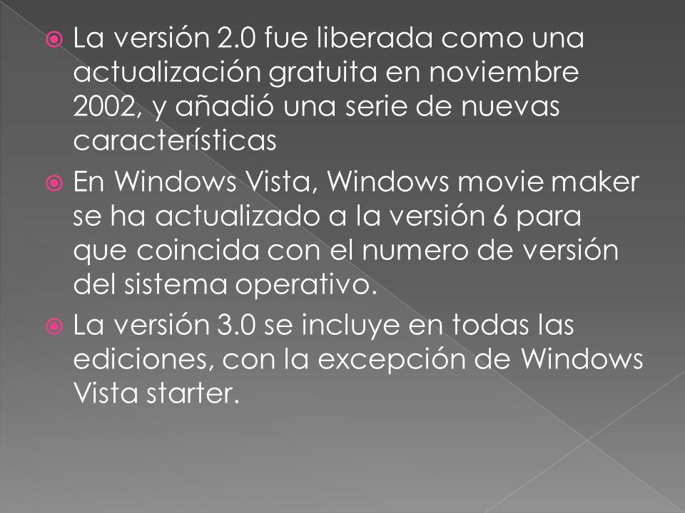 La versión 2.0 fue liberada como una actualización gratuita en noviembre 2002, y añadió una serie de nuevas características En Windows Vista, Windows