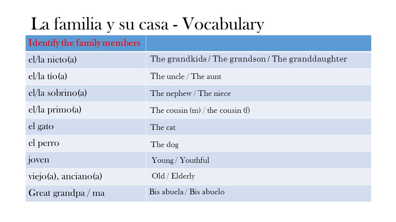 La familia y su casa - Vocabulary Identify the family members el/la nieto(a) el/la tío(a) el/la sobrino(a) el/la primo(a) el gato el perro joven viejo(a), anciano(a) Great grandpa / ma Bis abuela / Bis abuelo The grandkids / The grandson / The granddaughter Th e uncle / The aunt The nephew / The niece The cousin (m) / the cousin (f) The cat The dog Young / Youthful Old / Elderly