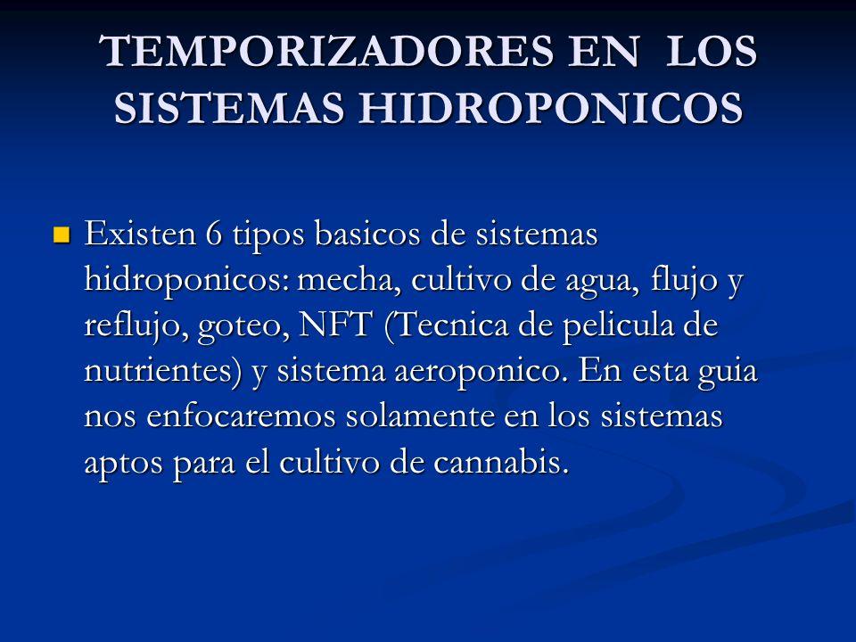 TEMPORIZADORES EN LOS SISTEMAS HIDROPONICOS Existen 6 tipos basicos de sistemas hidroponicos: mecha, cultivo de agua, flujo y reflujo, goteo, NFT (Tec