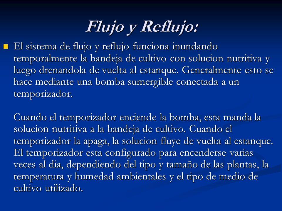 Flujo y Reflujo: El sistema de flujo y reflujo funciona inundando temporalmente la bandeja de cultivo con solucion nutritiva y luego drenandola de vue