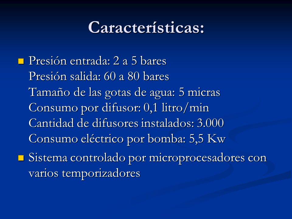 Características: Presión entrada: 2 a 5 bares Presión salida: 60 a 80 bares Tamaño de las gotas de agua: 5 micras Consumo por difusor: 0,1 litro/min C