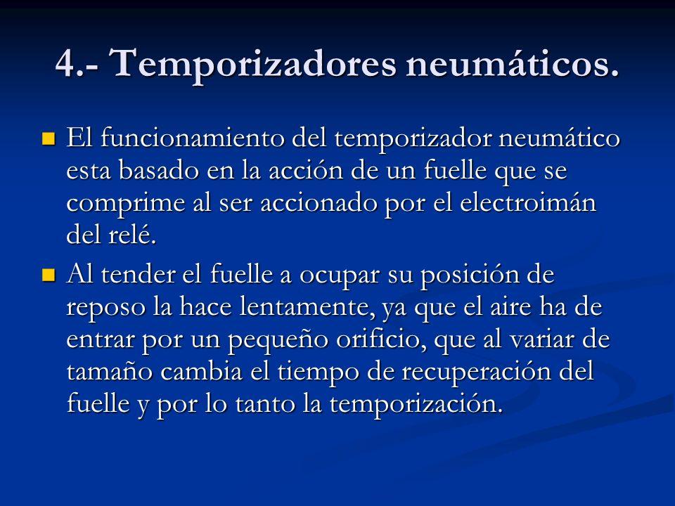 4.- Temporizadores neumáticos. El funcionamiento del temporizador neumático esta basado en la acción de un fuelle que se comprime al ser accionado por