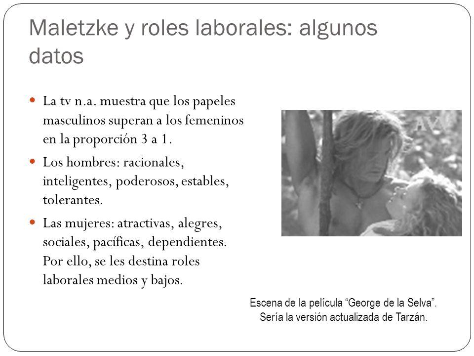 Maletzke y roles laborales: algunos datos La tv n.a. muestra que los papeles masculinos superan a los femeninos en la proporción 3 a 1. Los hombres: r
