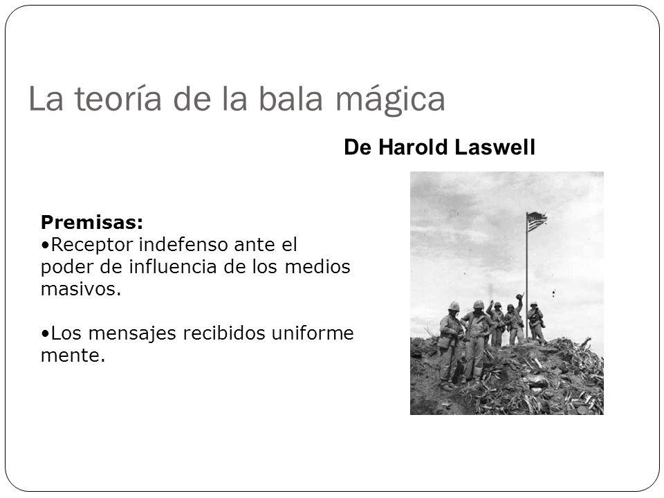 La teoría de la bala mágica De Harold Laswell Premisas: Receptor indefenso ante el poder de influencia de los medios masivos. Los mensajes recibidos u