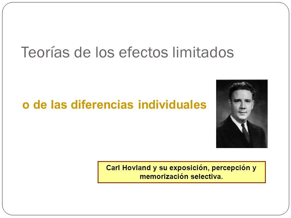 Teorías de los efectos limitados Carl Hovland y su exposición, percepción y memorización selectiva. o de las diferencias individuales