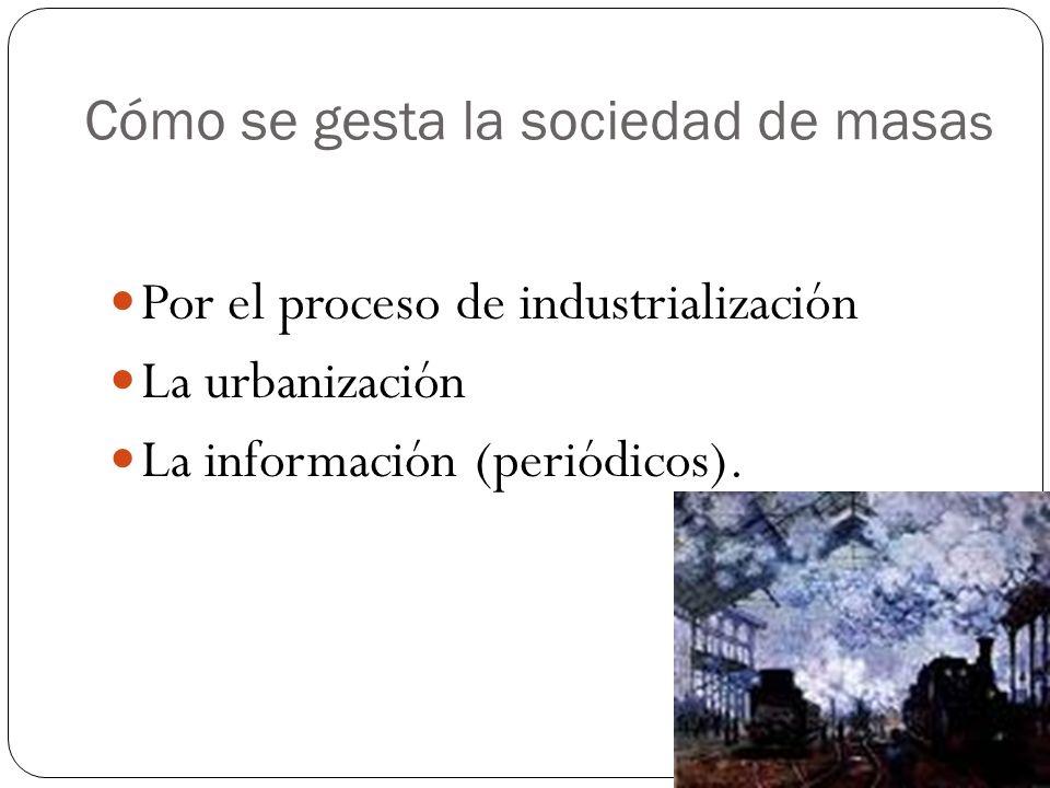 Cómo se gesta la sociedad de masa s Por el proceso de industrialización La urbanización La información (periódicos).