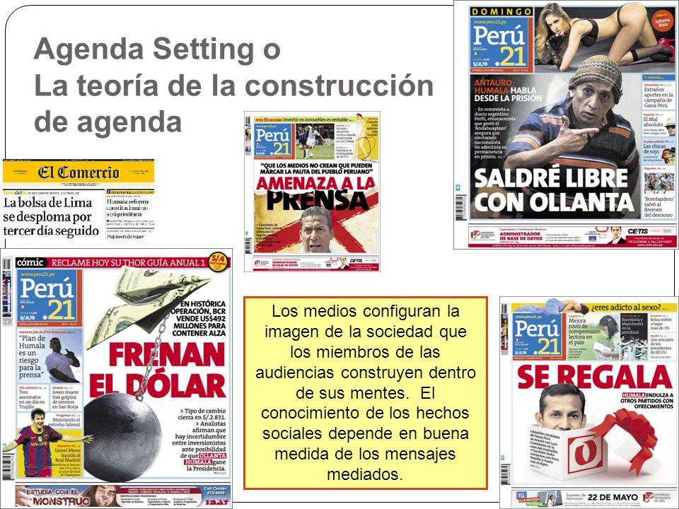 Agenda Setting o La teoría de la construcción de agenda Los medios configuran la imagen de la sociedad que los miembros de las audiencias construyen d