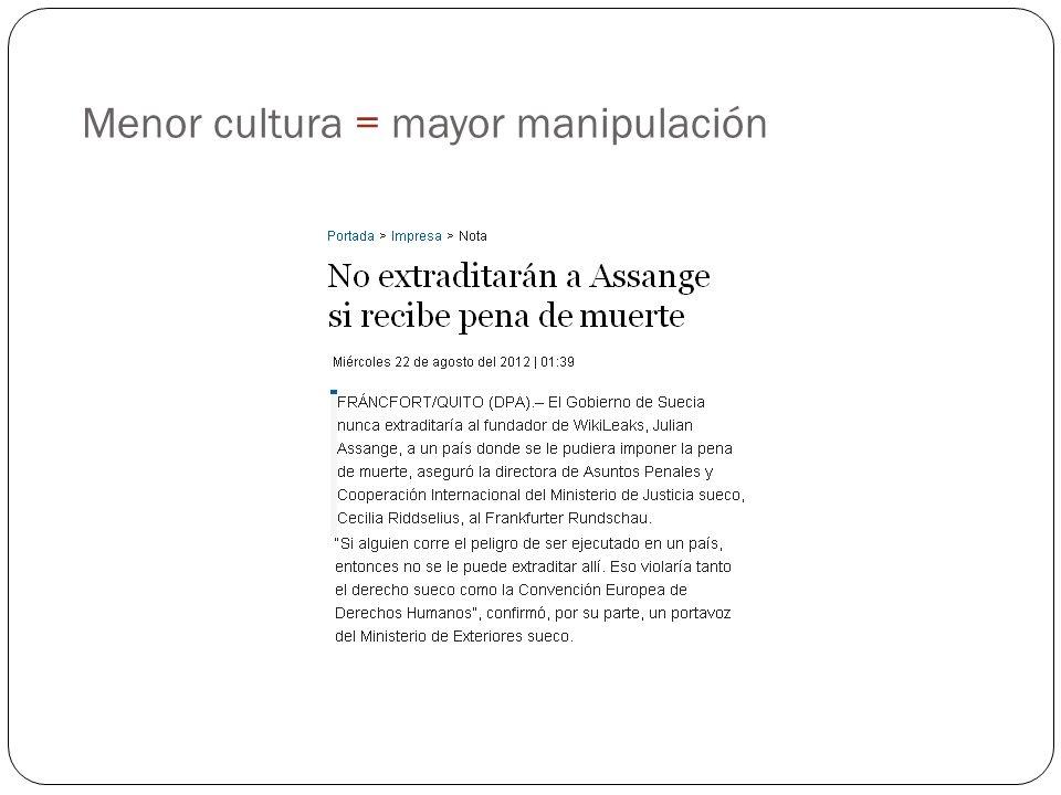 Menor cultura = mayor manipulación