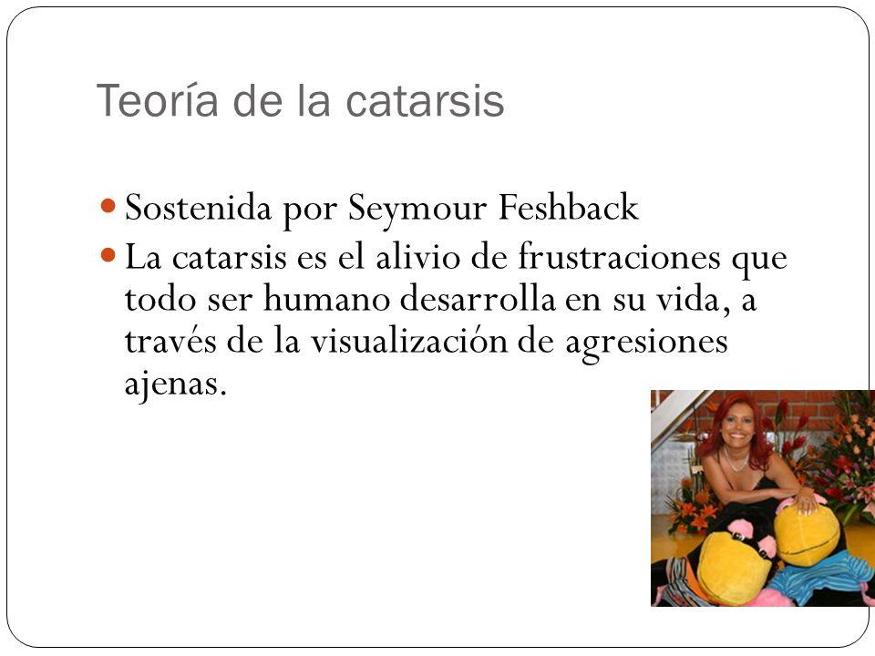 Teoría de la catarsis Sostenida por Seymour Feshback La catarsis es el alivio de frustraciones que todo ser humano desarrolla en su vida, a través de