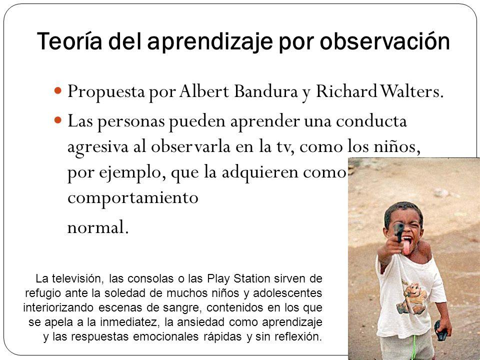 Teoría del aprendizaje por observación Propuesta por Albert Bandura y Richard Walters. Las personas pueden aprender una conducta agresiva al observarl