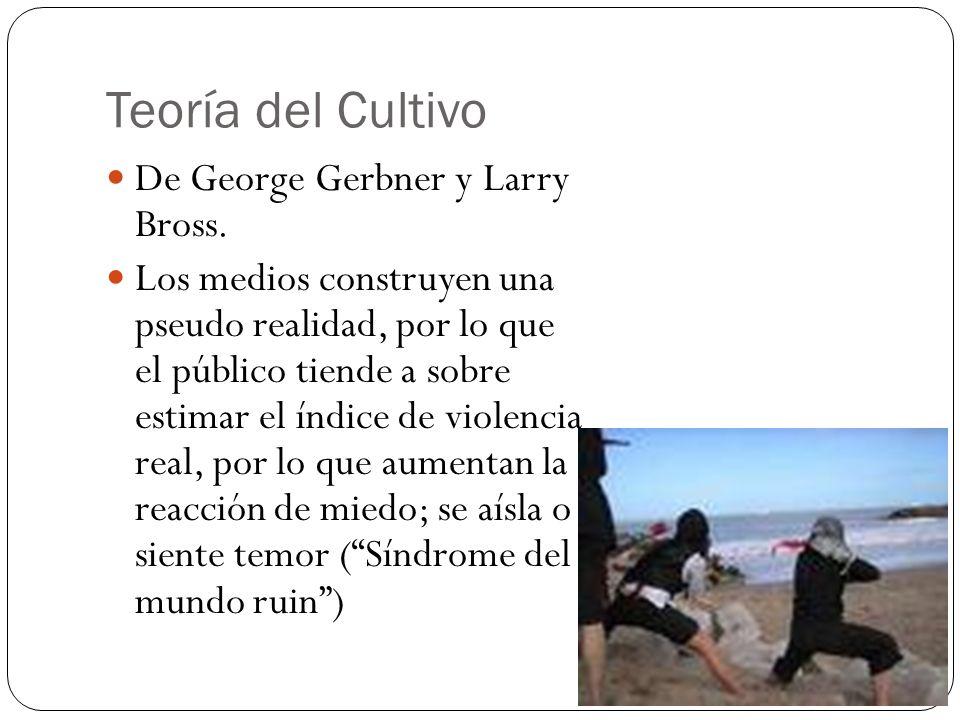 Teoría del Cultivo De George Gerbner y Larry Bross. Los medios construyen una pseudo realidad, por lo que el público tiende a sobre estimar el índice