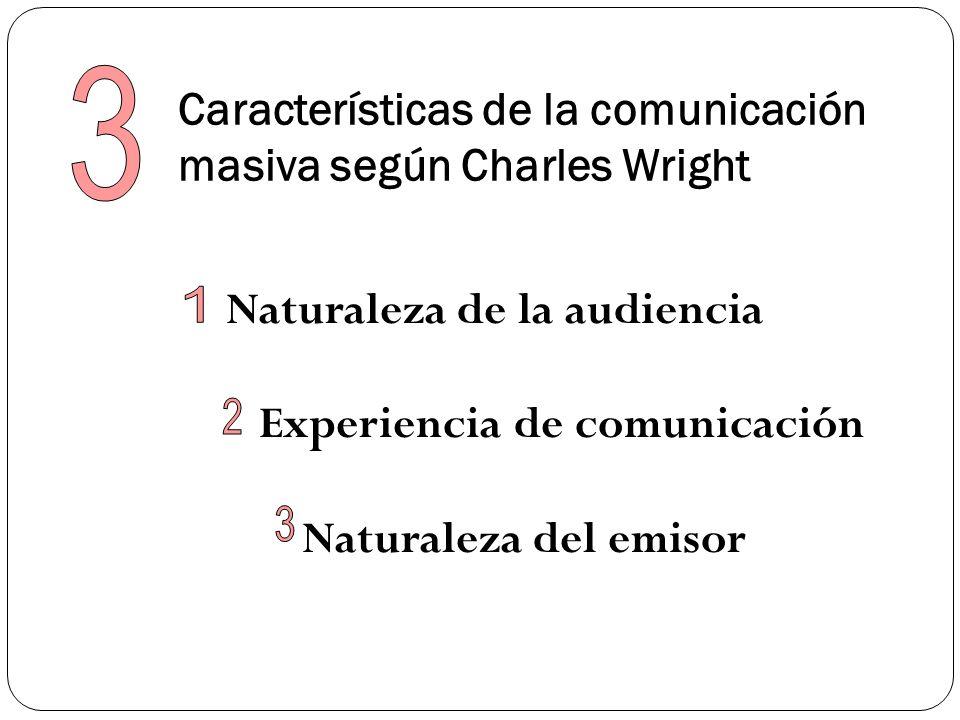 Características de la comunicación masiva según Charles Wright Naturaleza de la audiencia Experiencia de comunicación Naturaleza del emisor