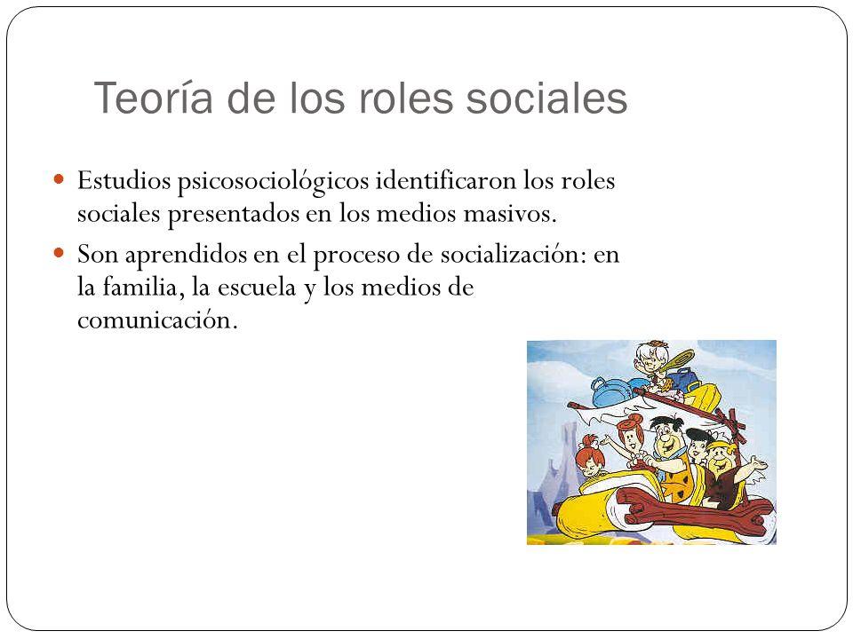 Teoría de los roles sociales Estudios psicosociológicos identificaron los roles sociales presentados en los medios masivos. Son aprendidos en el proce