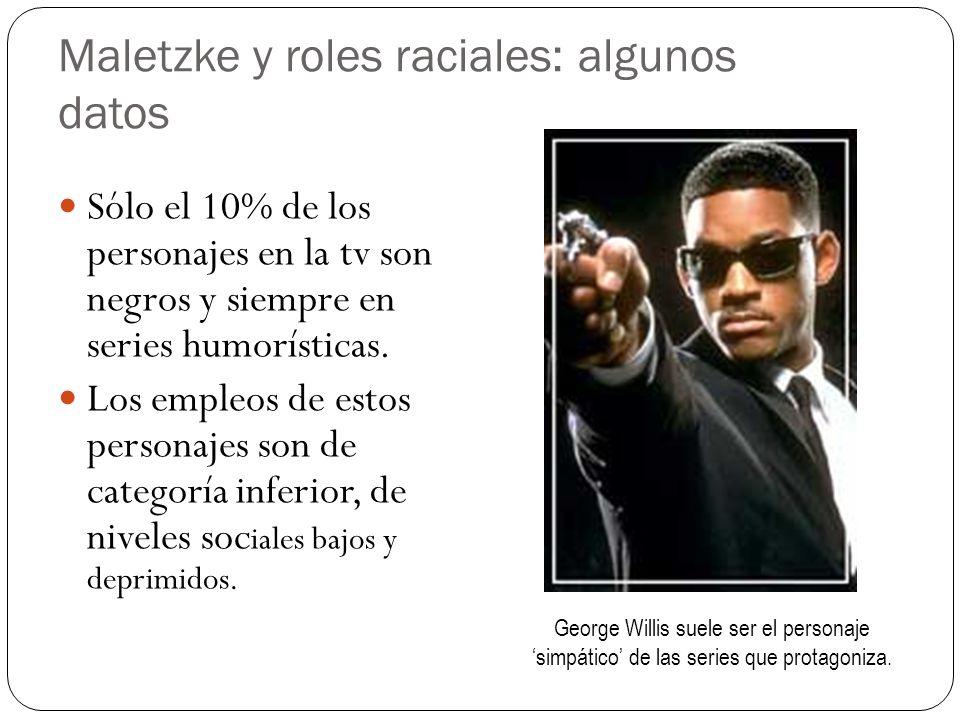 Maletzke y roles raciales: algunos datos Sólo el 10% de los personajes en la tv son negros y siempre en series humorísticas. Los empleos de estos pers